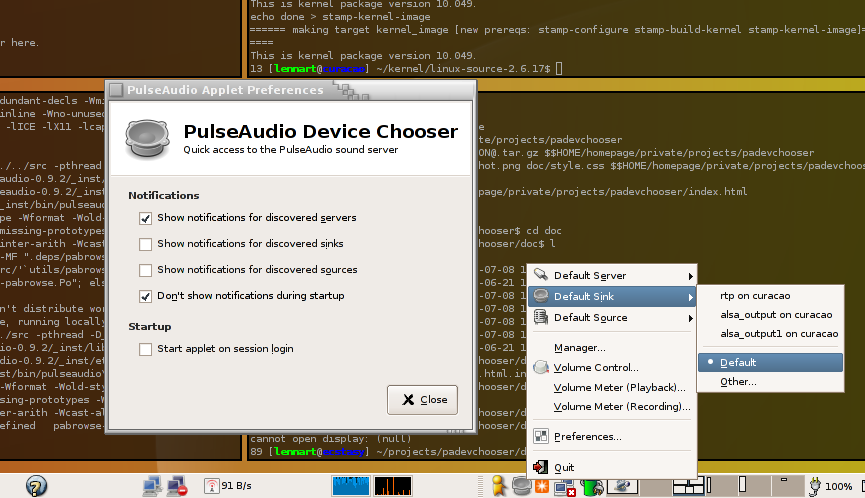 PulseAudio Device Chooser Screenshot